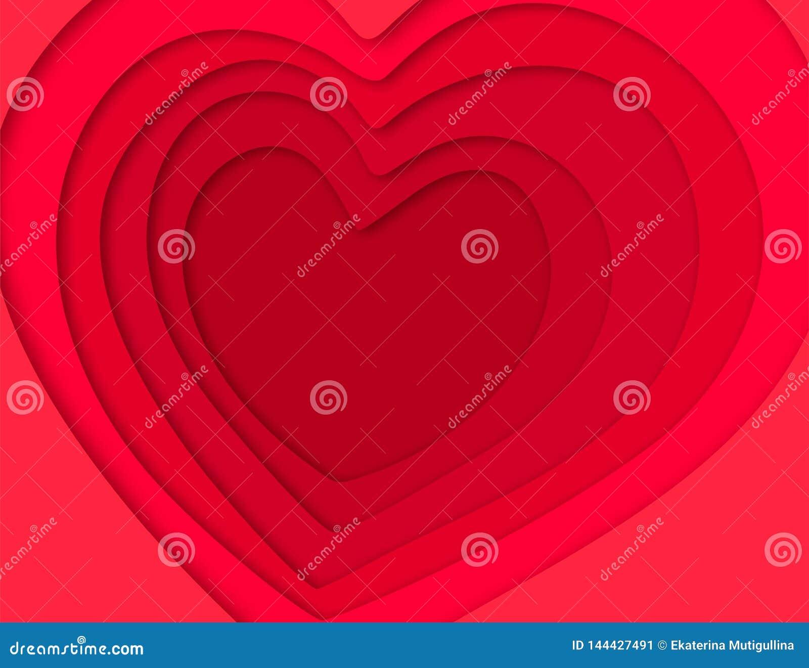 Hintergrund 3D mit Herzpapierschnitt