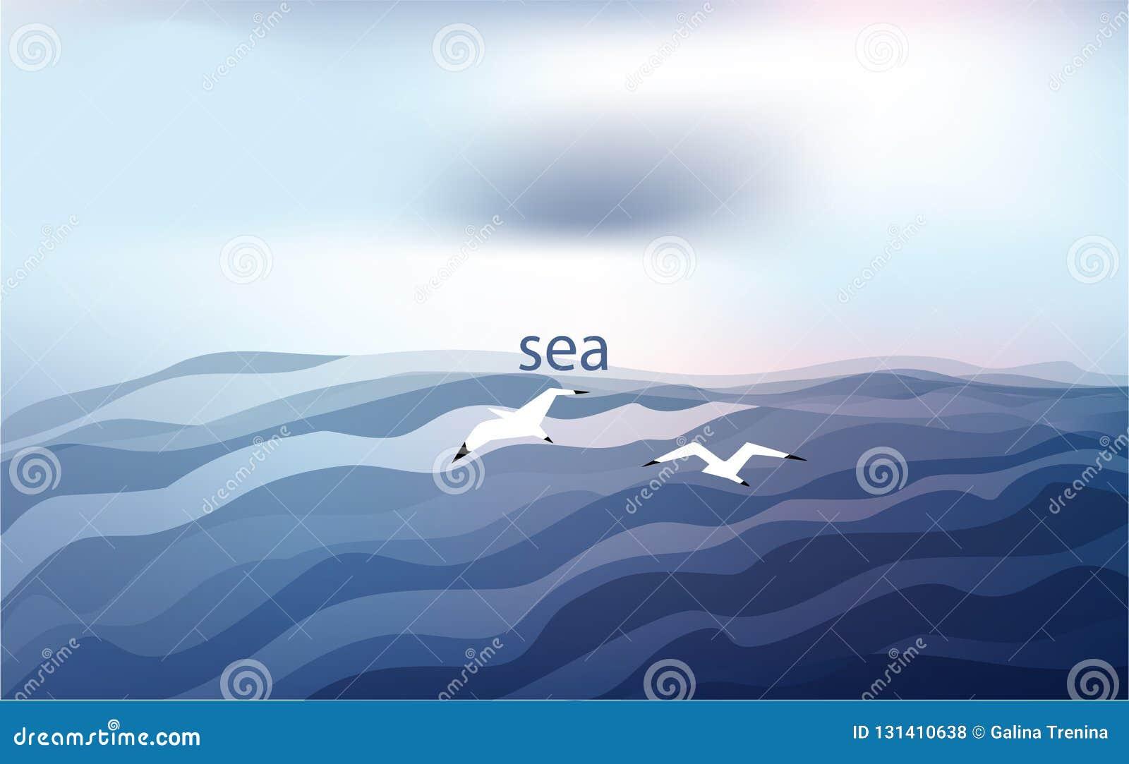Hintergrund in den blauen Tönen mit dem Meer und den Seemöwen unter einem bewölkten Himmel Auch im corel abgehobenen Betrag
