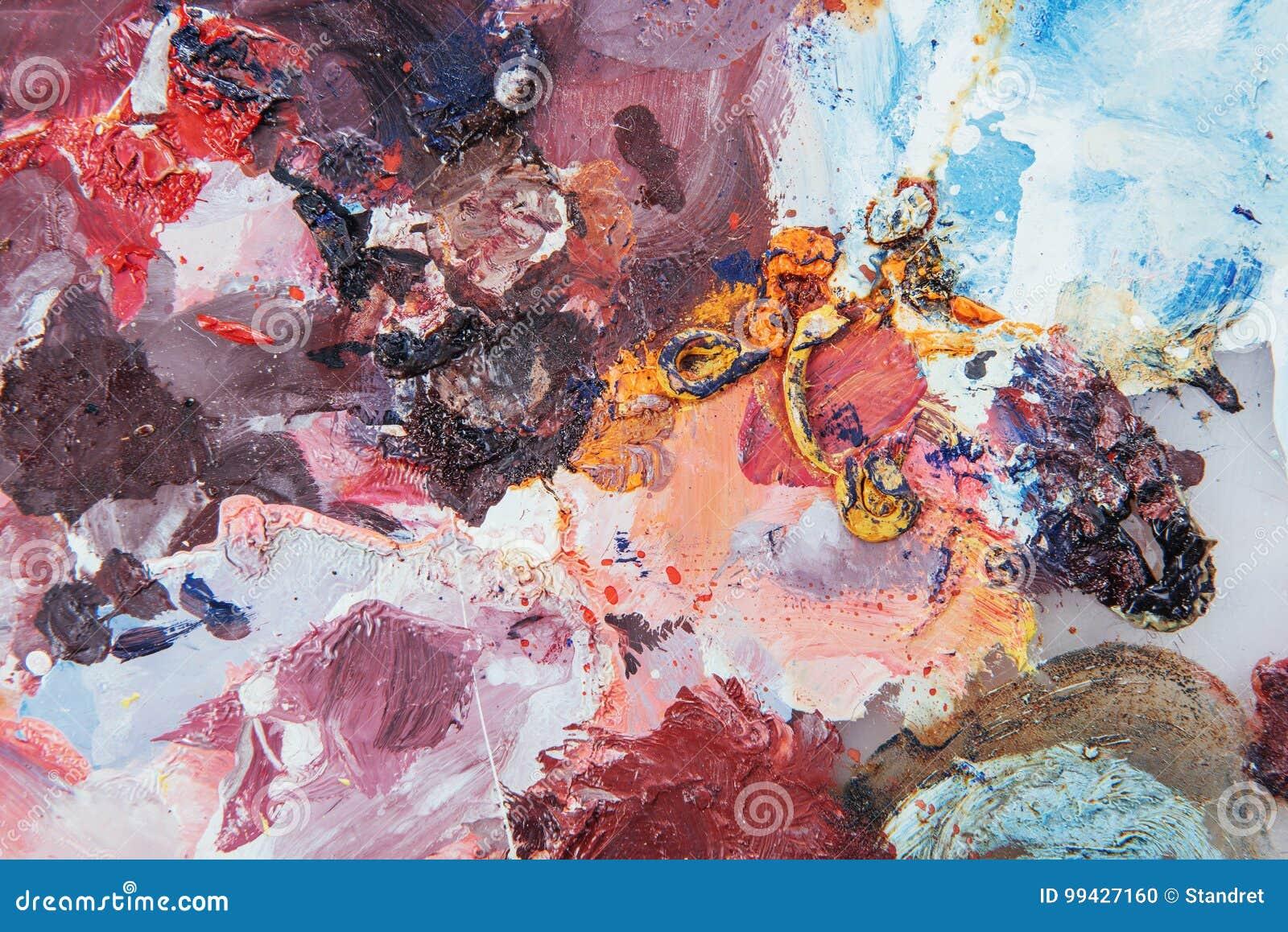 Hintergrund der abstrakten Kunst Ölgemälde auf Segeltuch Mehrfarbige helle Beschaffenheit Fragment der Grafik Stellen der Ölfarbe