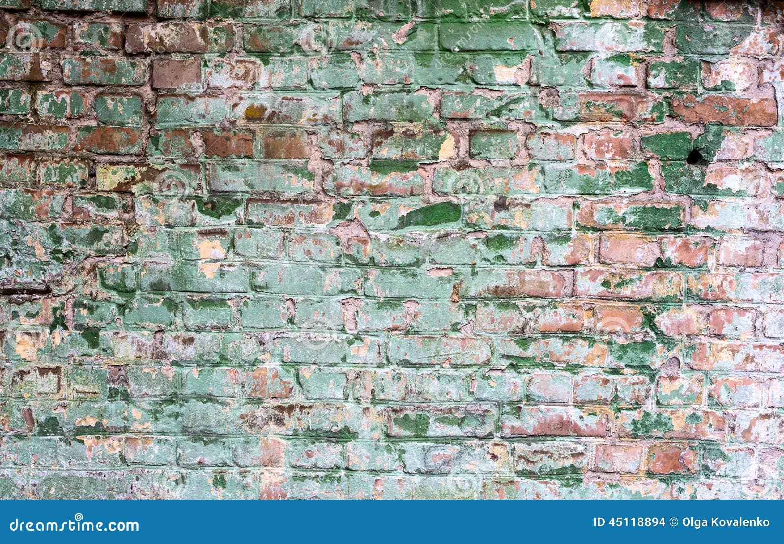 Hintergrund Der Schmutzigen Backsteinmauer Der Alten Weinlese Mit Schalengips Stockfoto   Bild ...