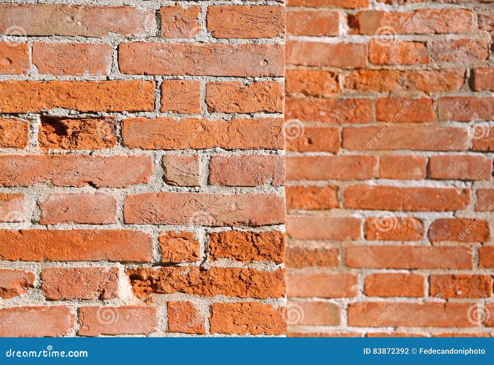 Hintergrund Der Wand Des Roten Backsteins Mit Mörser Des Alten Italienischen Pala Stockfoto ...