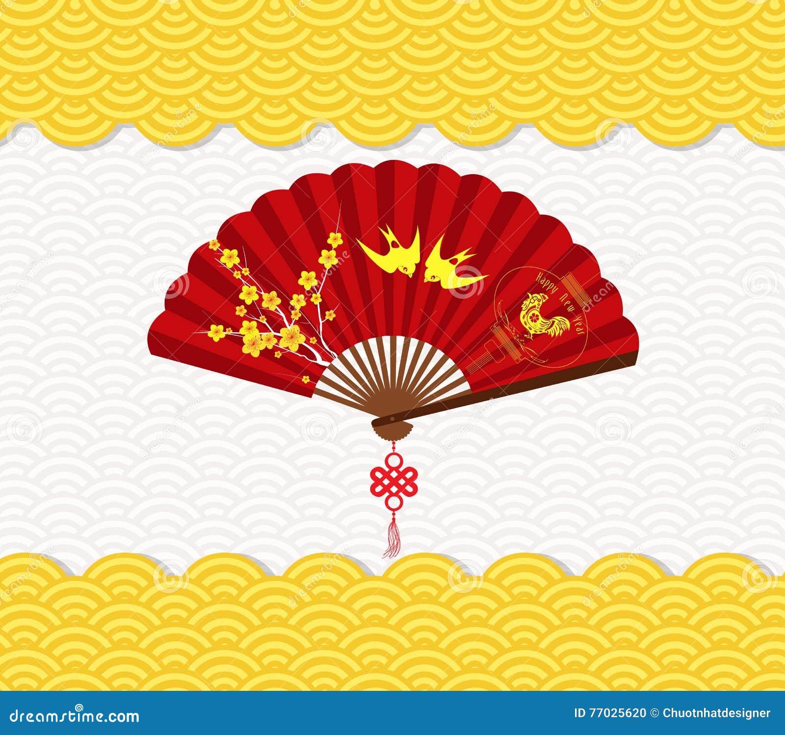 Hintergrund des Chinesischen Neujahrsfests mit Blüte und Hahn