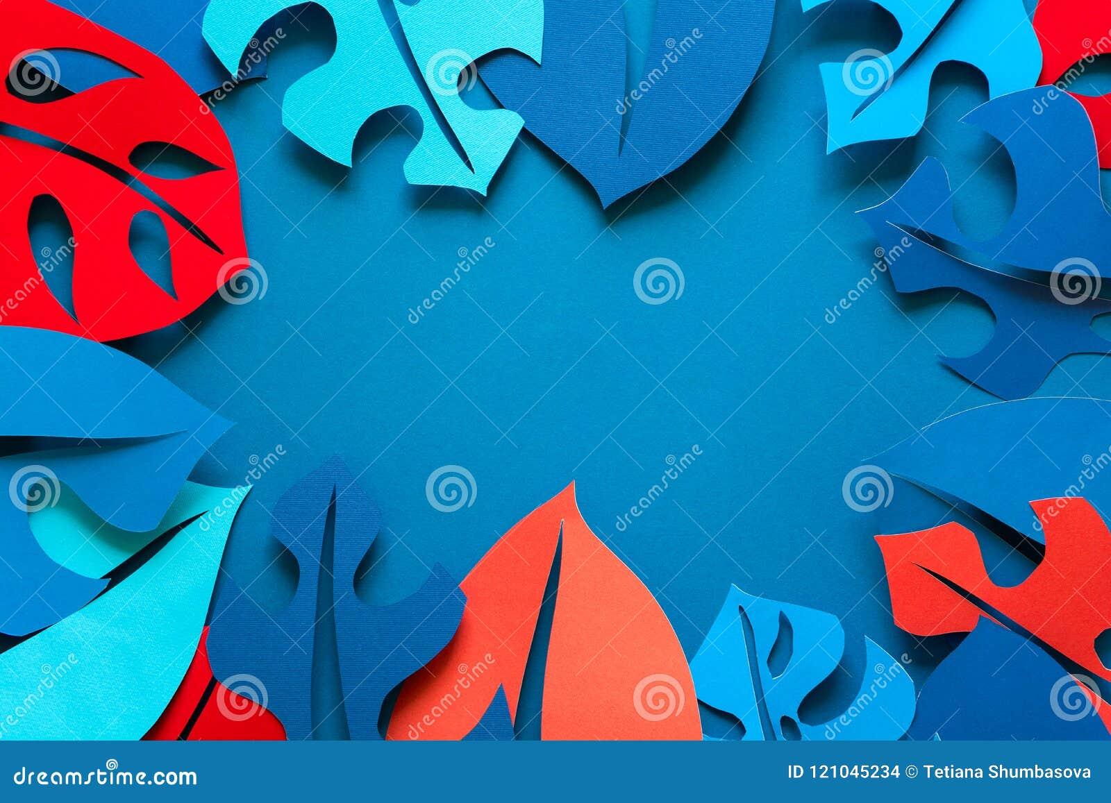 Hintergrund des Sommers tropische Betriebs Monstera lässt Rahmen Vibrierende Farben Papierschnittart
