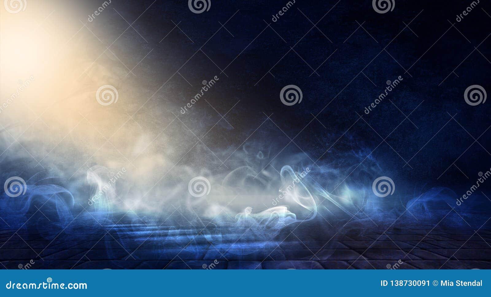 Hintergrund eines leeren dunkel-schwarzen Raumes Leere Backsteinmauern, Lichter, Rauch, Glühen, Strahlen