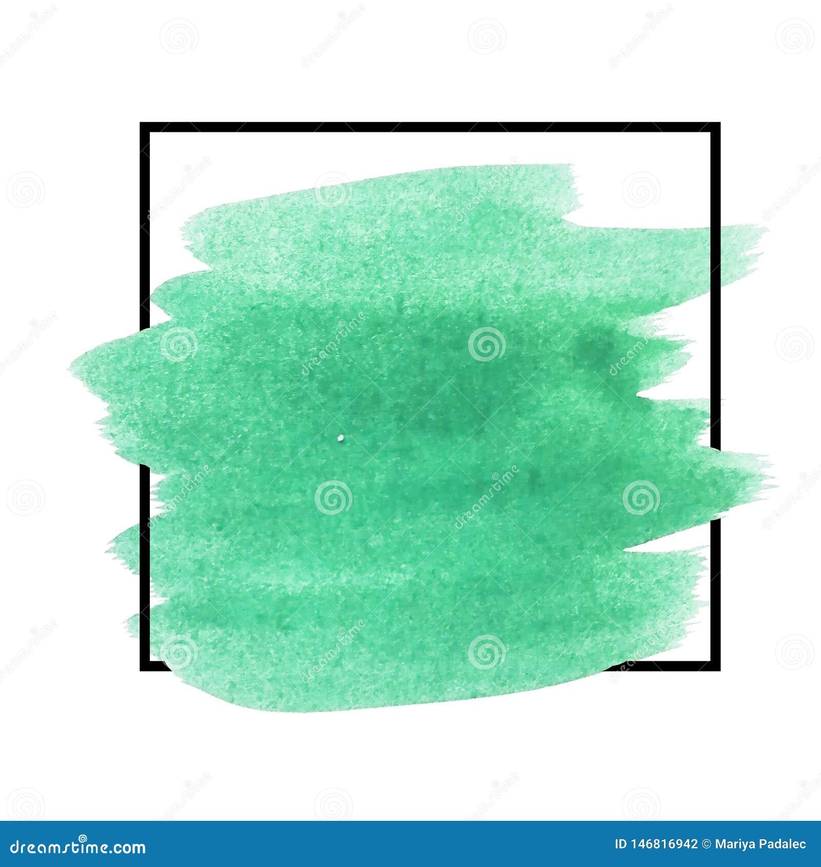 Hintergrund mit Bürstenanschlagaquarell schloss in einem Quadrat ein Ursprüngliche Schmutzkunst-Farbenschablone für Titel, Logo u