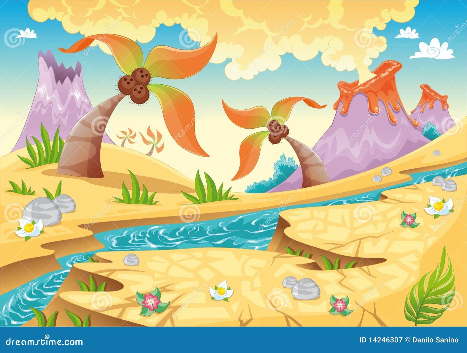 Hintergrund mit Baumpalmen und -vulkanen.