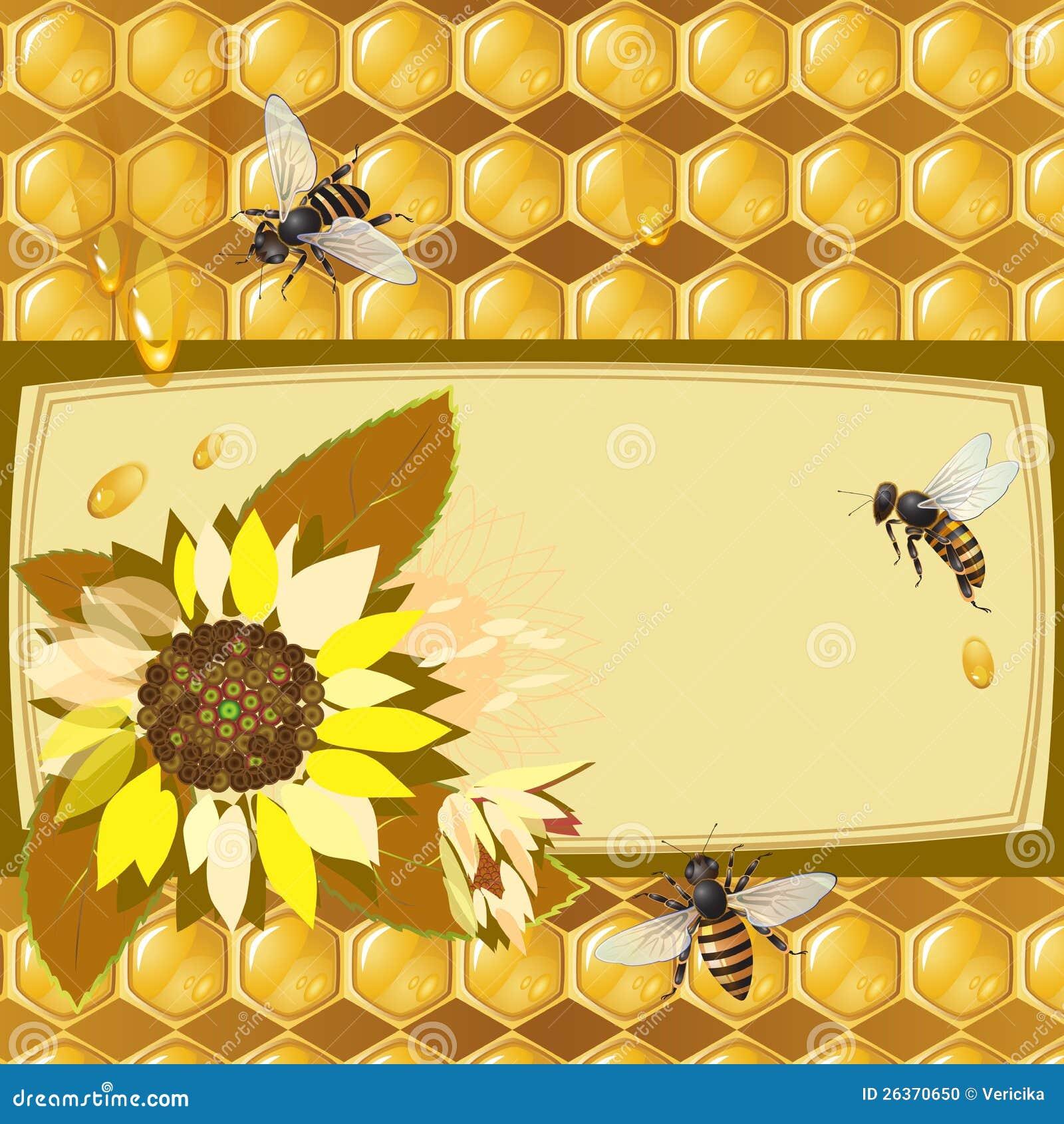 Hintergrund mit Bienen und Sonnenblumen
