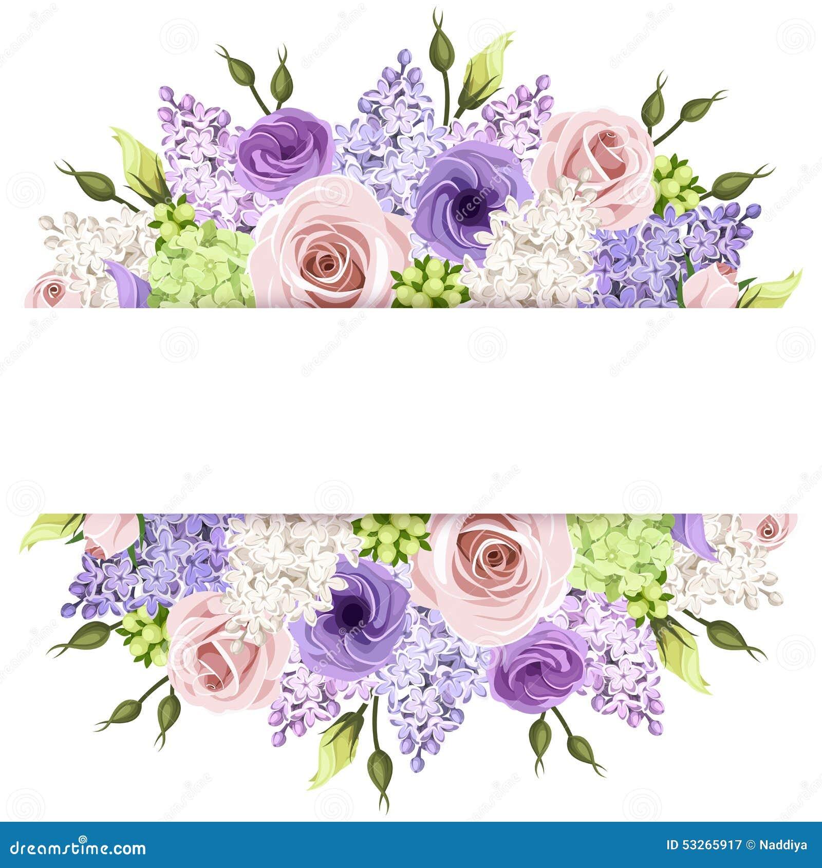 Hintergrund mit den rosa, purpurroten und weißen Rosen und den lila Blumen Vektor EPS-10