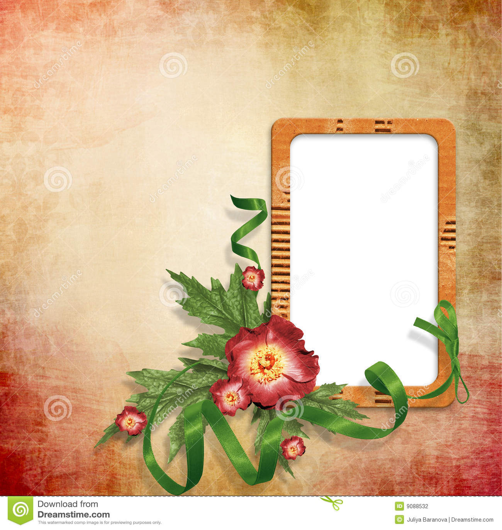 Hintergrund mit leerem Bilderrahmen mit Blumen