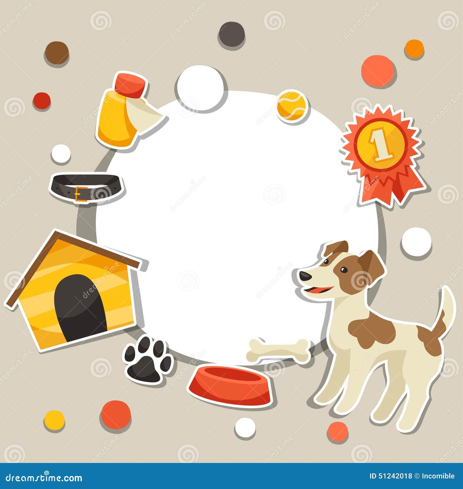 Hintergrund mit nettem Aufkleberhund, Ikonen und