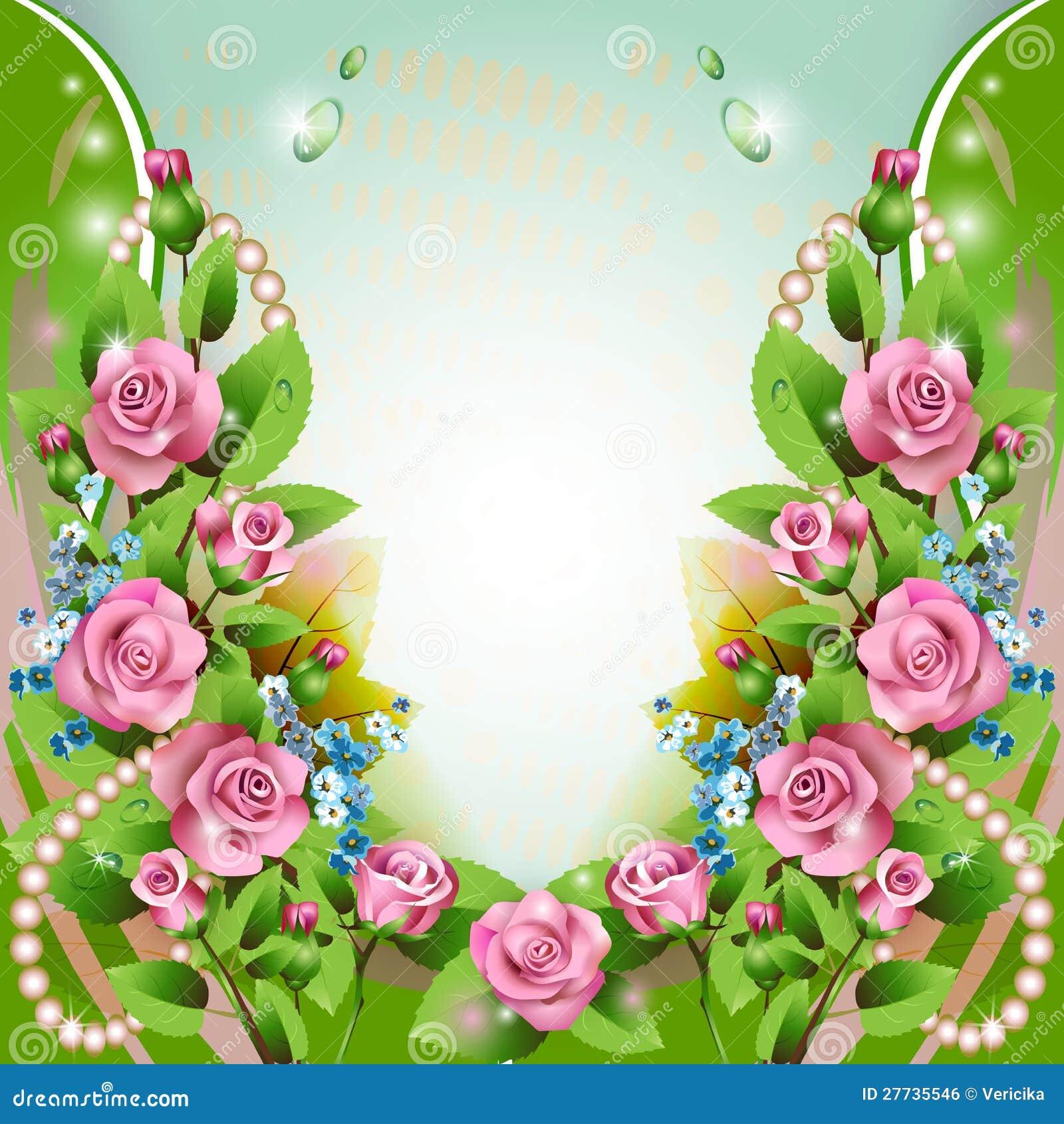 Hintergrund mit rosa Rosen und Tropfen