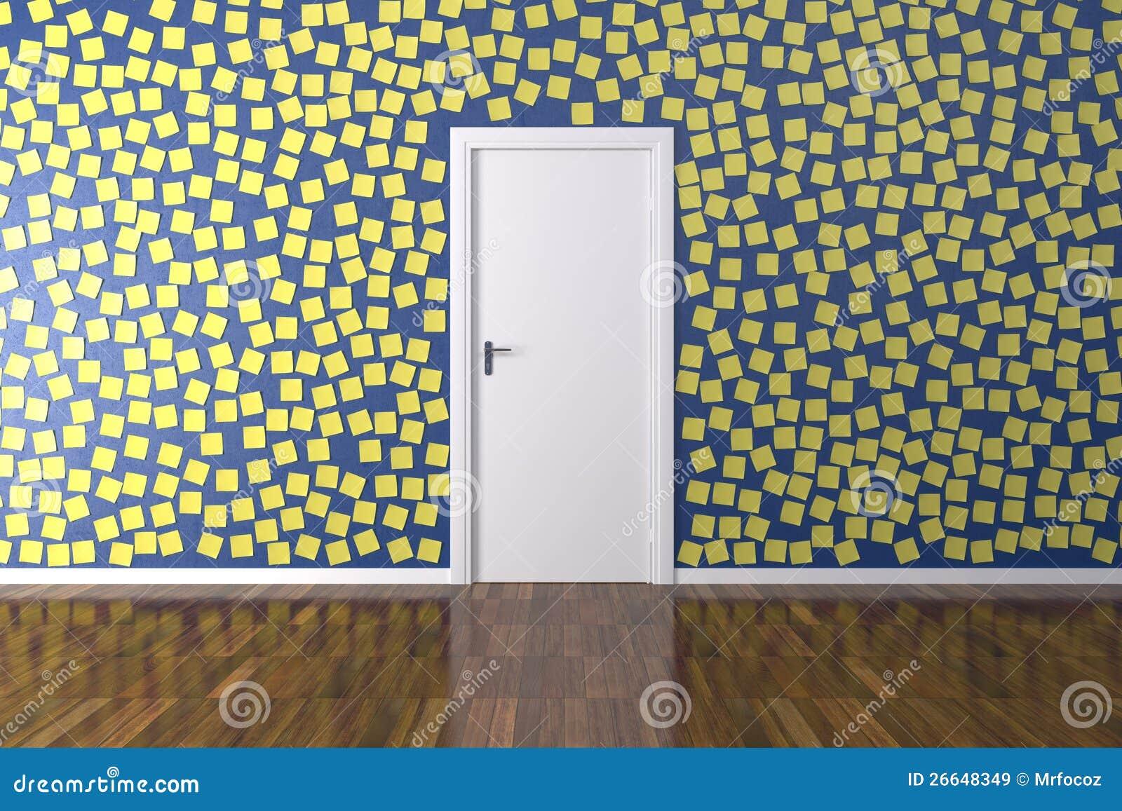 hintergrund wand mit post it stock abbildung illustration von entsperren gelegenheit 26648349. Black Bedroom Furniture Sets. Home Design Ideas