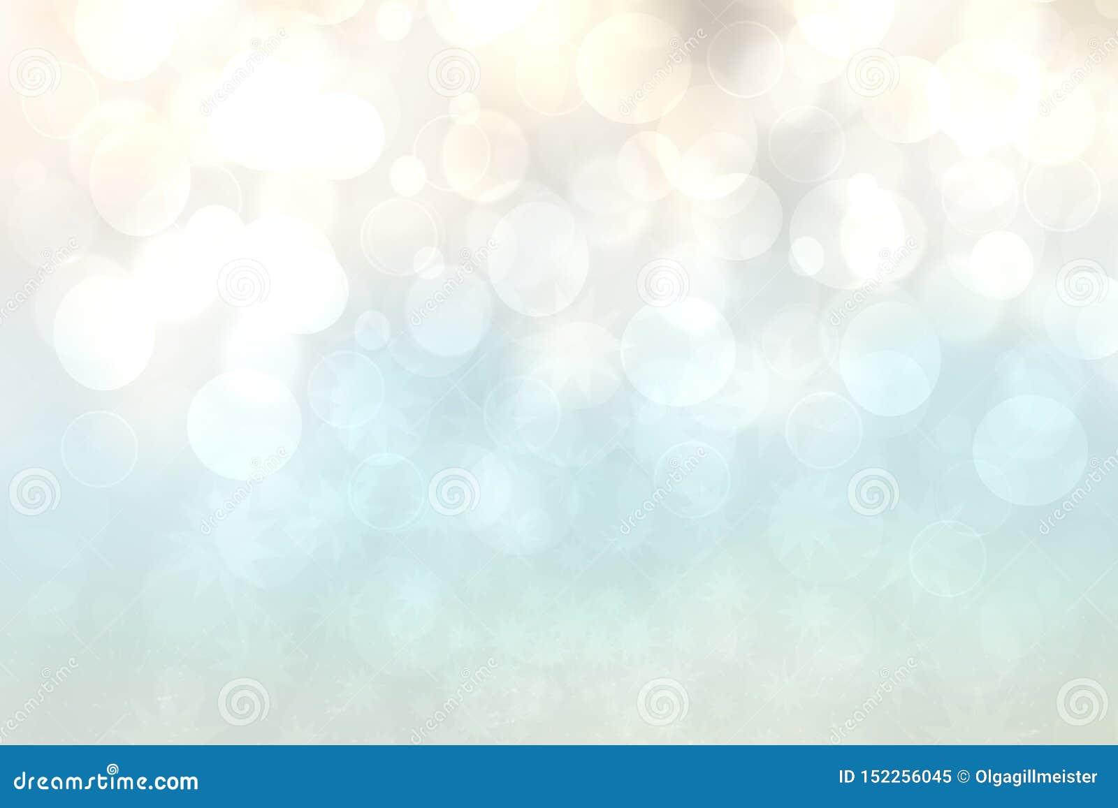Hintergrundbeschaffenheit des beige hellen Türkises der Zusammenfassungssteigung glänzende unscharfe mit Kreis-bokeh Lichtern Sch