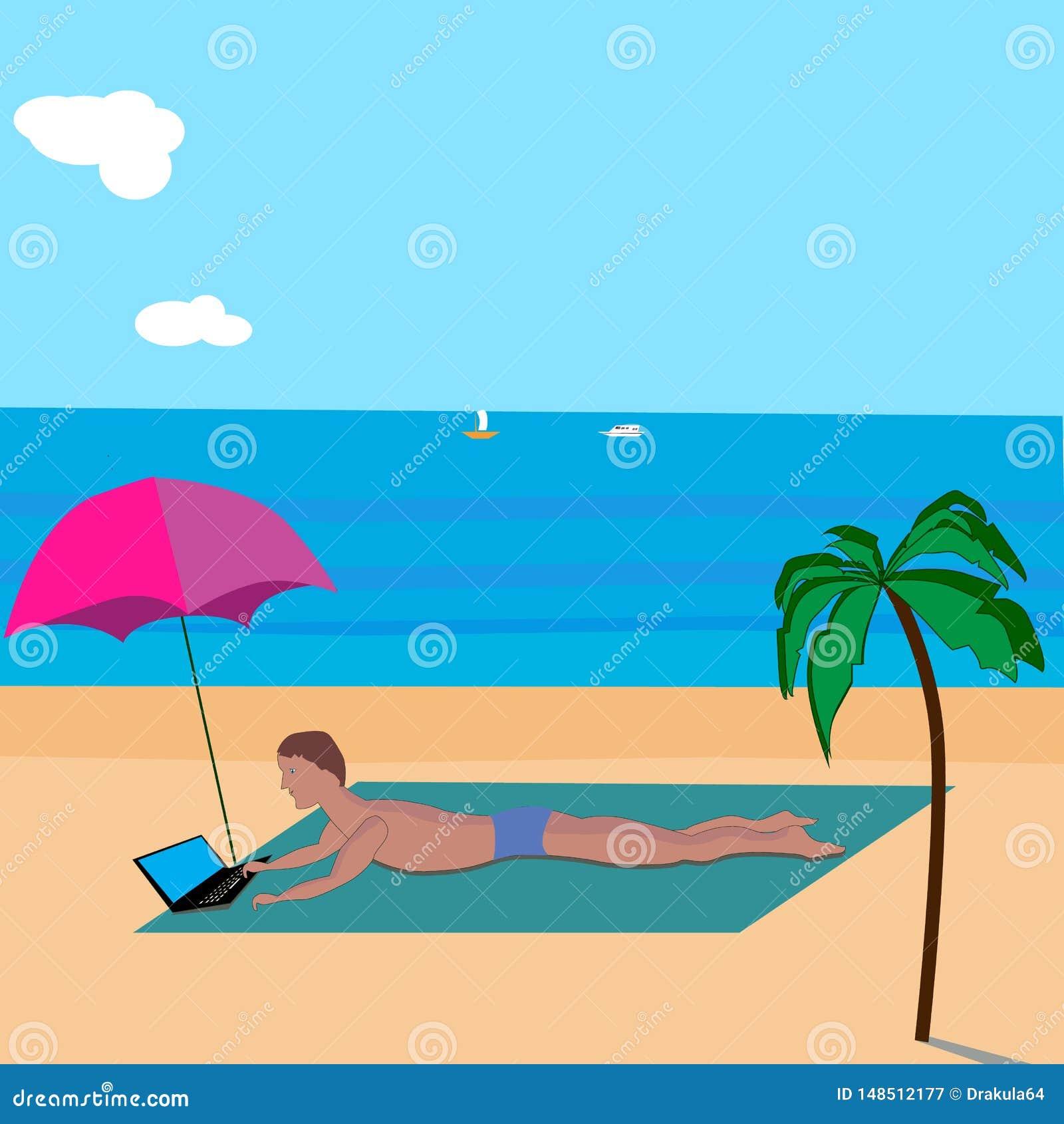Hintergrundmann mit Laptop ein Sonnenbad nehmend auf dem Strand