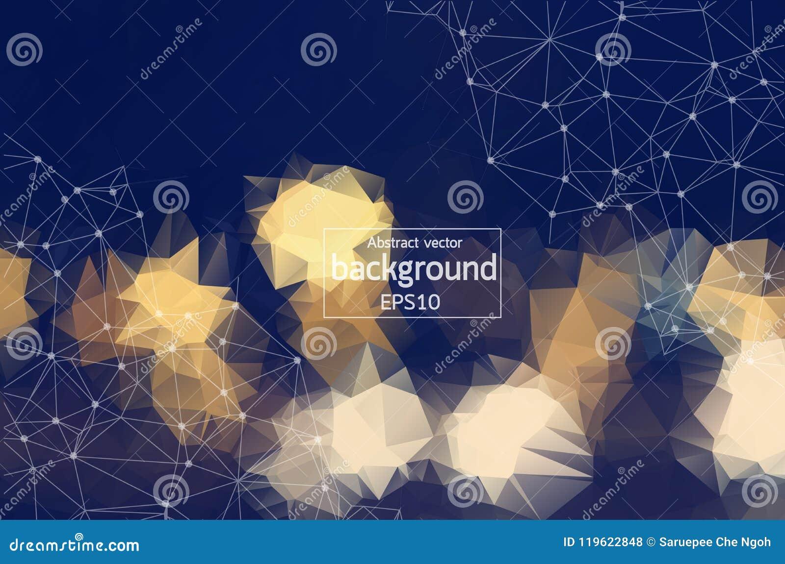 Hintergrundmolekül und -kommunikation der geometrischen Weinlese polygonales Verbundene Linien mit Punkten Minimalismushintergrun