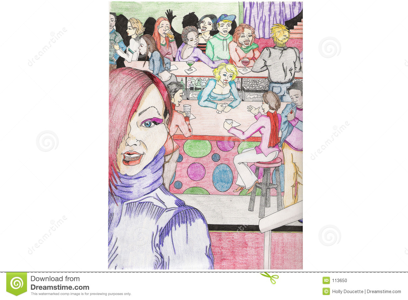Hip and colorful bar scene
