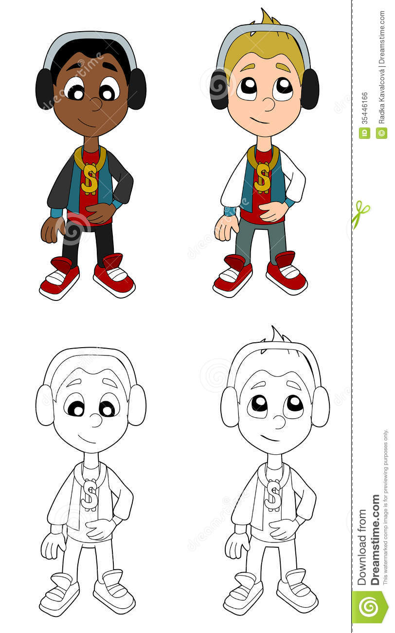 Hip Hop Boys Cartoon Royalty Free Stock Image
