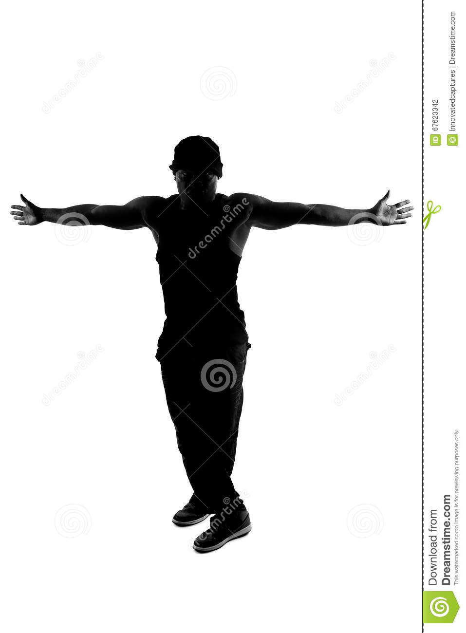 Black And White Silhouette Of A Male Dancer Posing With Dance Moves