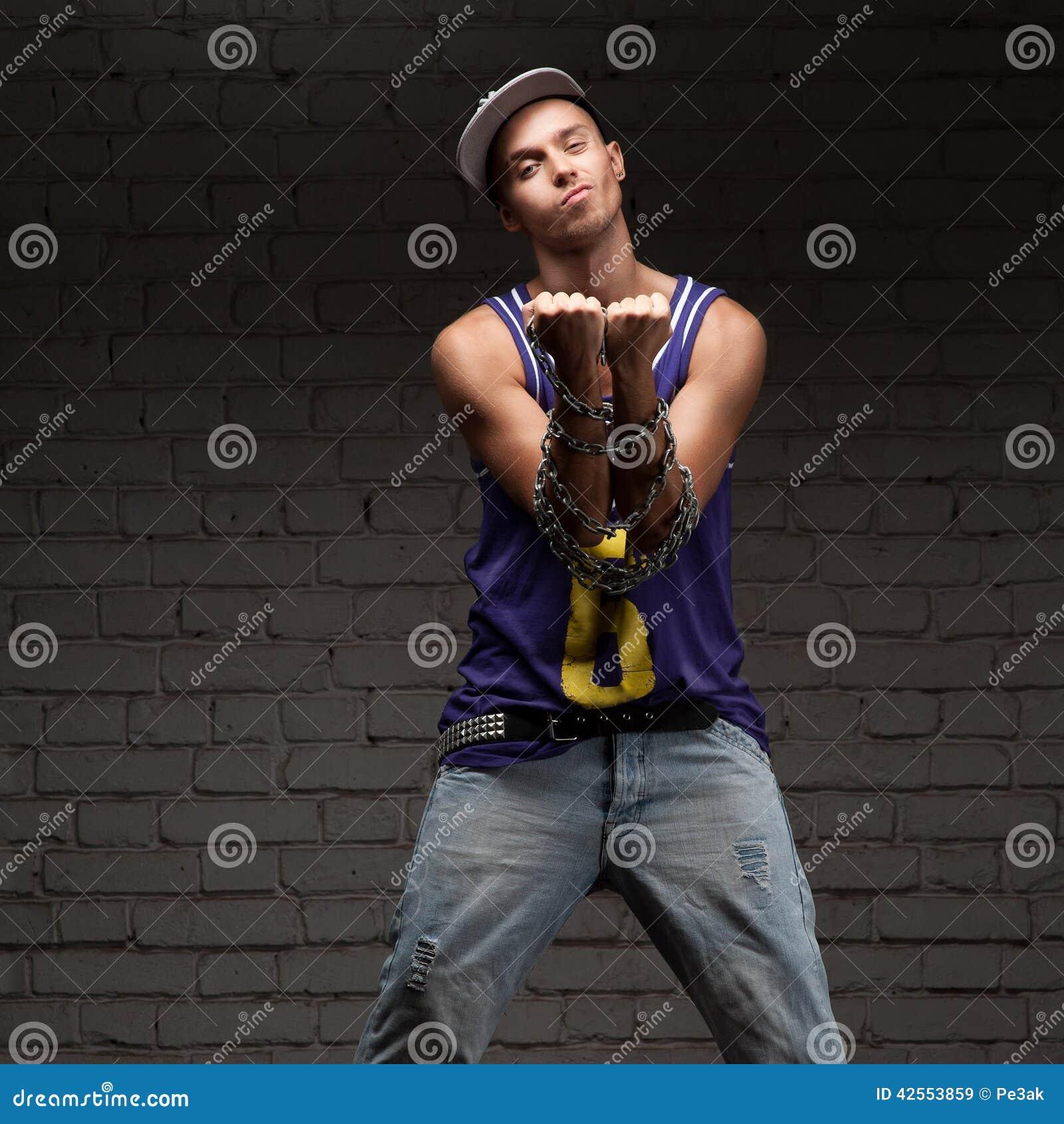 hip hop style man holding baseball bat and chain royalty. Black Bedroom Furniture Sets. Home Design Ideas