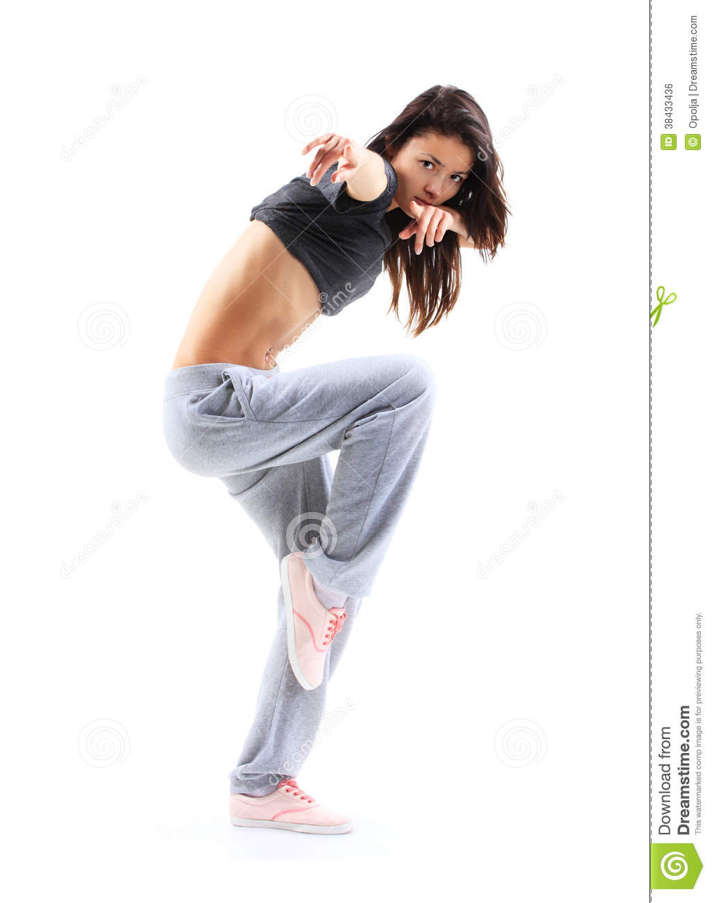 Hip-hop Style Teenage Girl Jumping Dancing Royalty Free ...