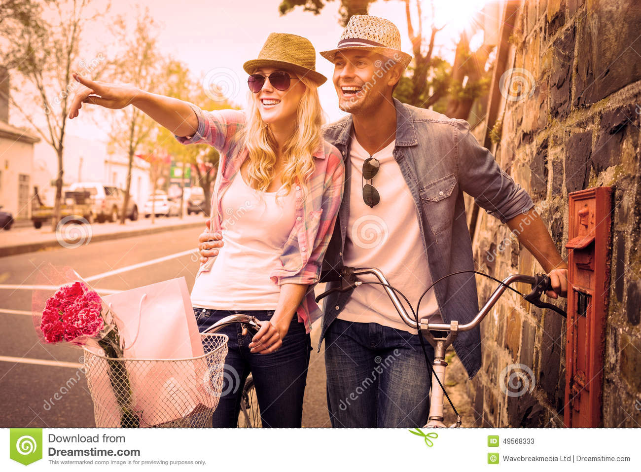 Download Hip Young Couple Standing By Brick Wall With Their Bikes Stock Illustration - Illustration of generated, adult: 49568333