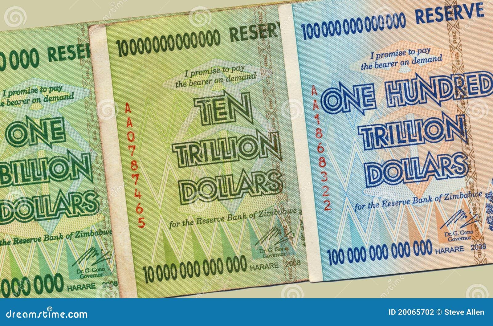Hiper- banknot inflacja Zimbabwe