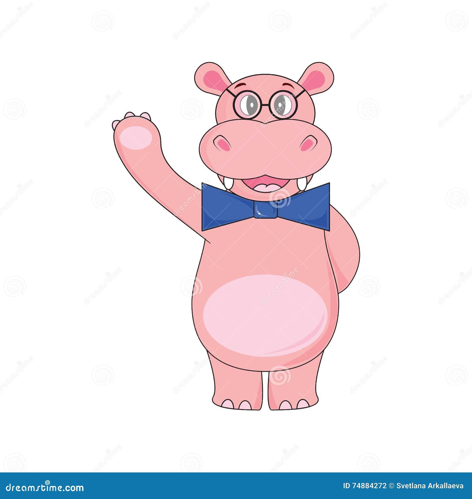 Hipopótamo com laço, vidros vestindo que acenam uma pata no fundo branco no vetor