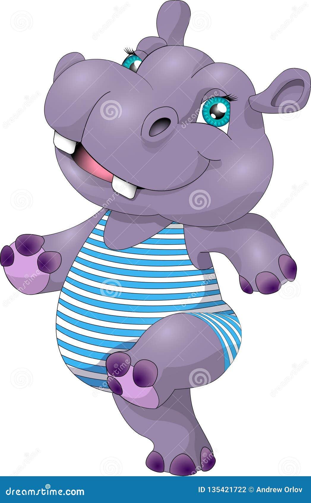 Hipopótamo divertido Hippopotamus aislado en el fondo blanco