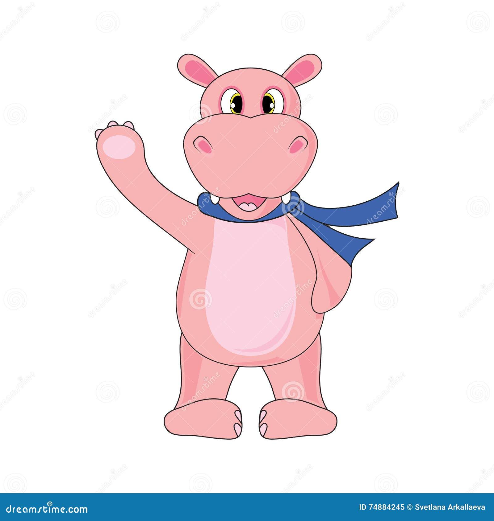 Hipopótamo em um lenço em um fundo branco no vetor