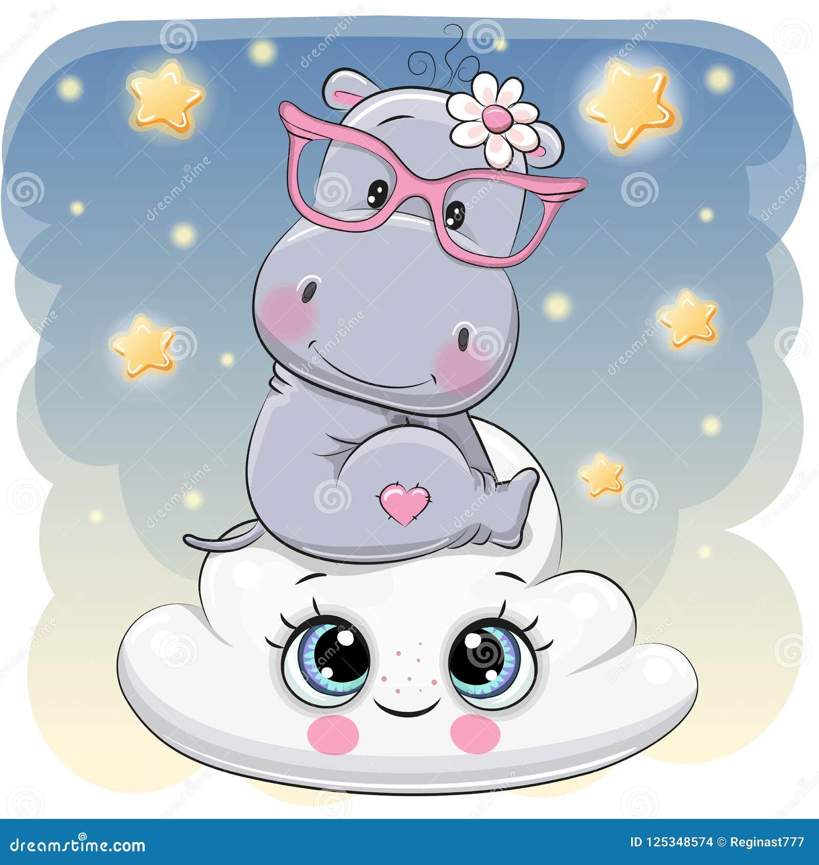 Hipopótamo lindo a en la nube