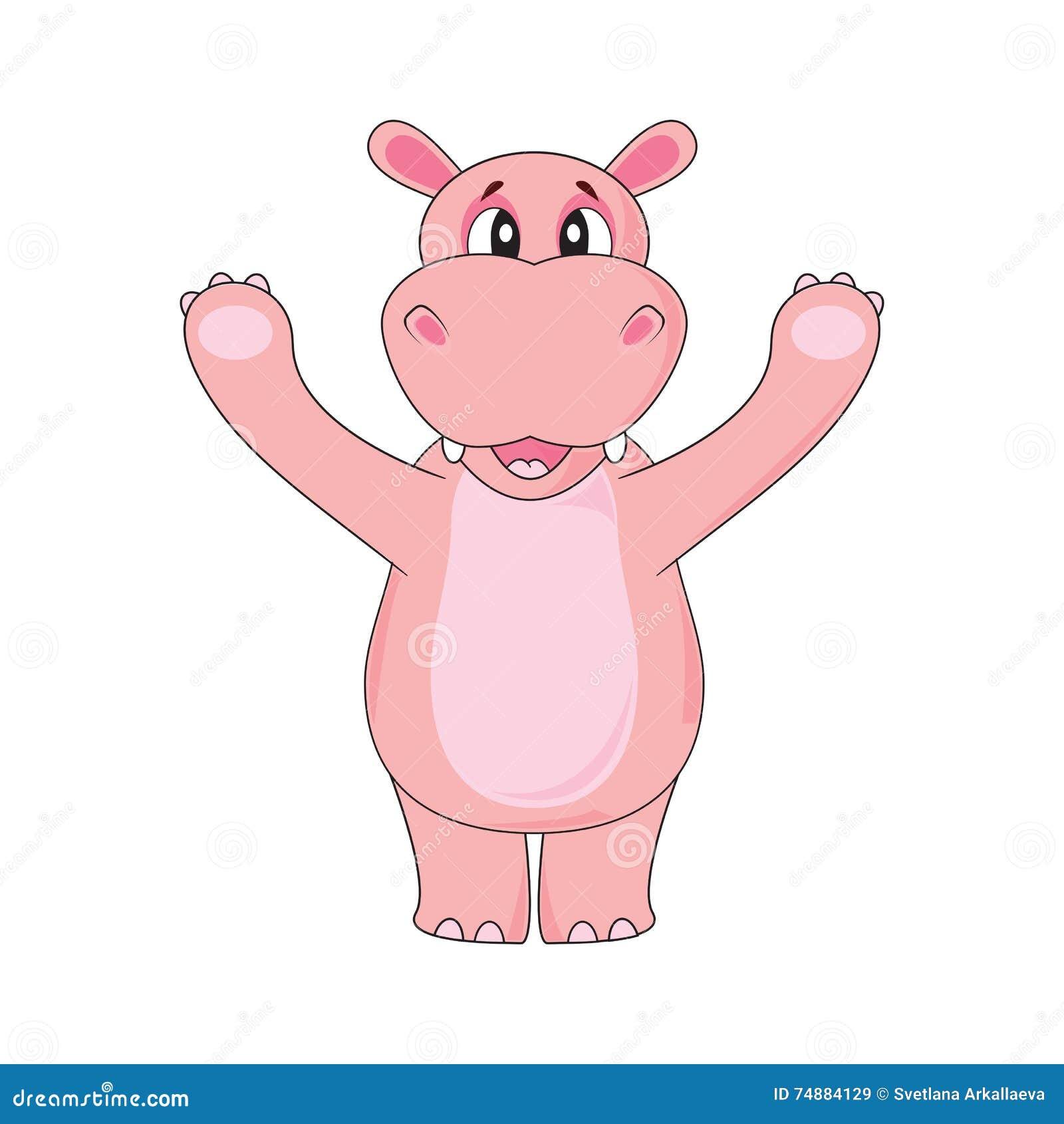 Hipopótamo que acena uma pata no fundo branco no vetor