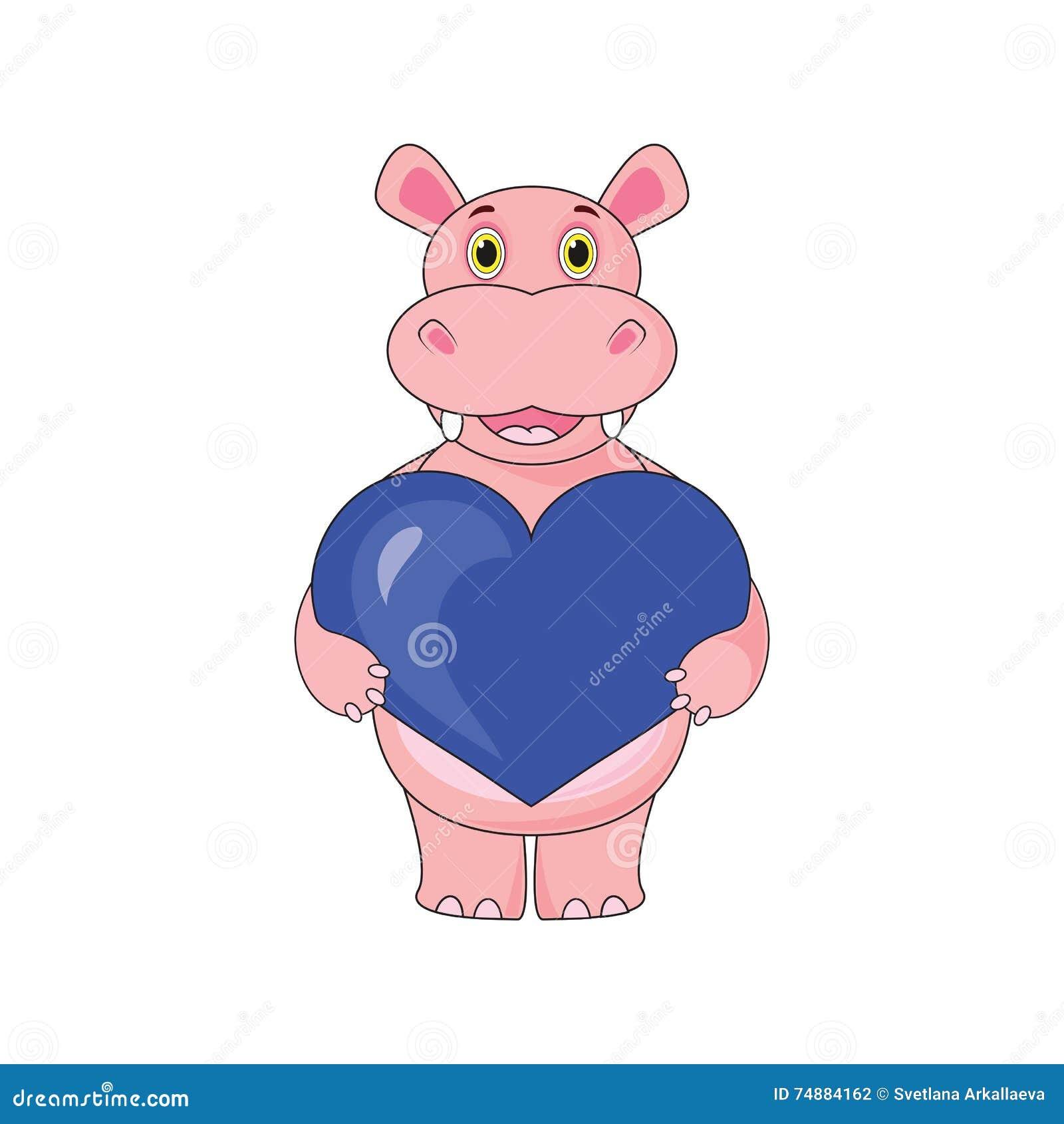 Hipopótamo que guarda o coração no fundo branco no vetor