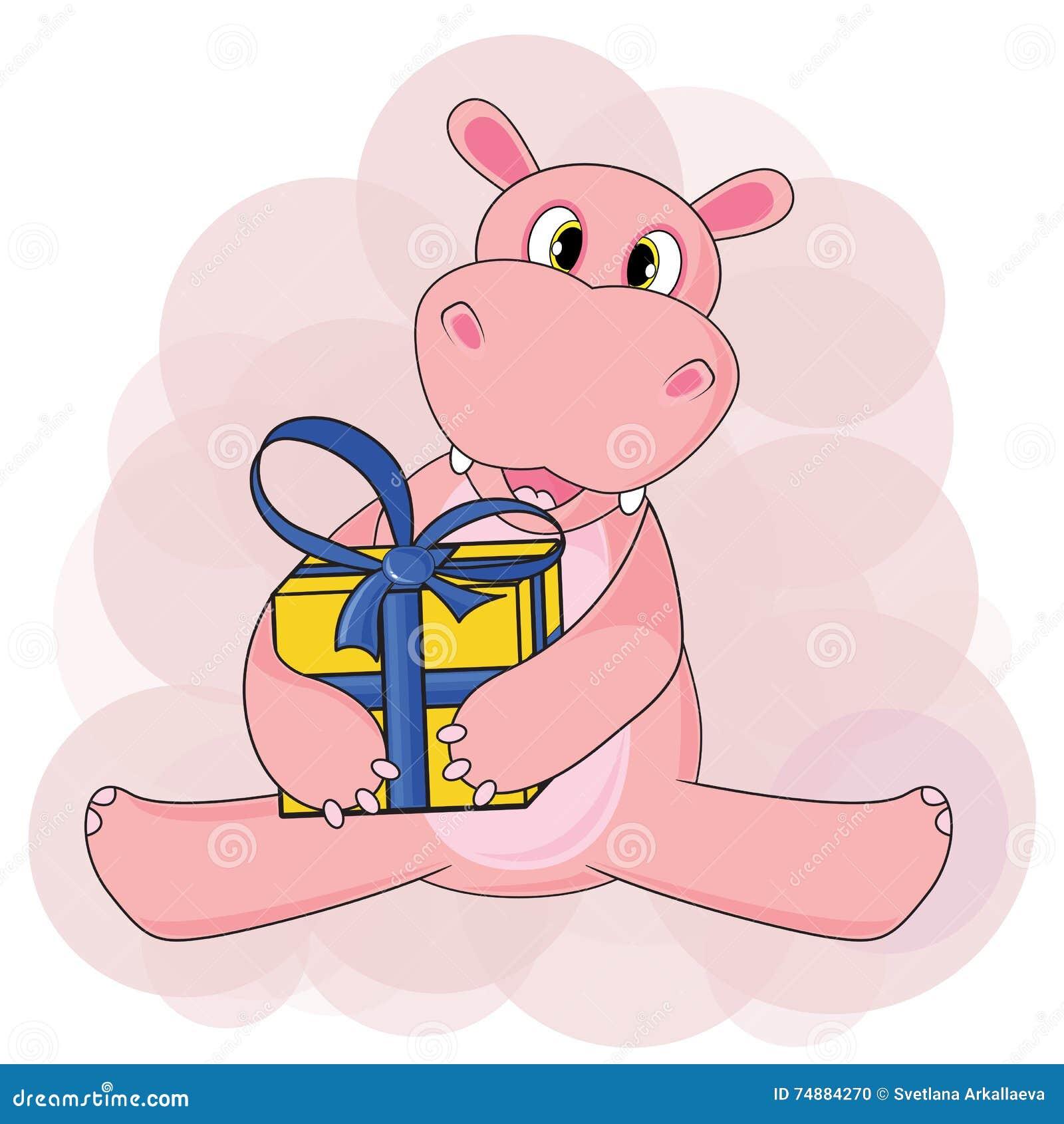 Hipopótamo que senta e que guarda o presente no fundo branco no vetor