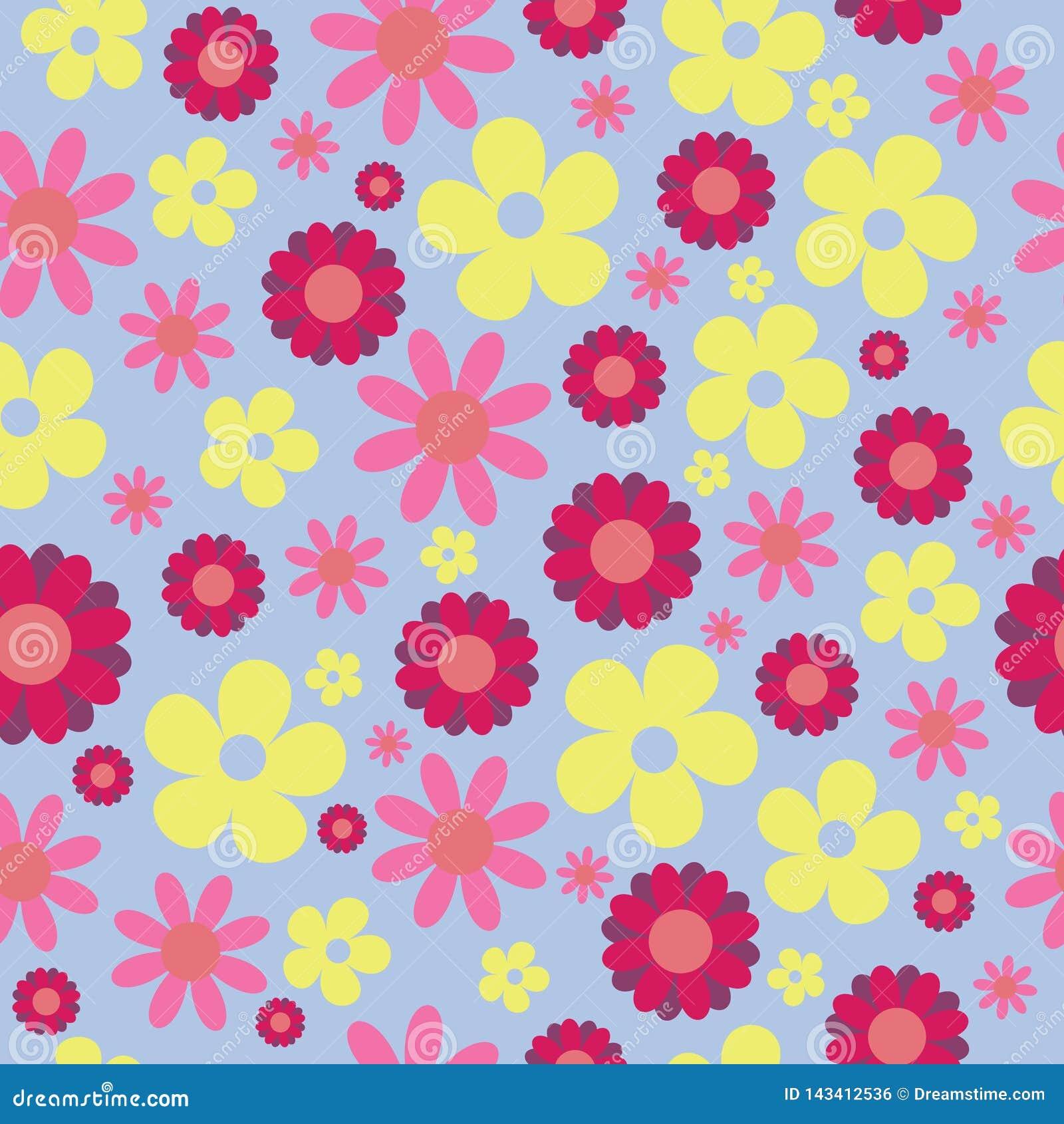 Hippie безшовной картины вектора голубой желтый флористический