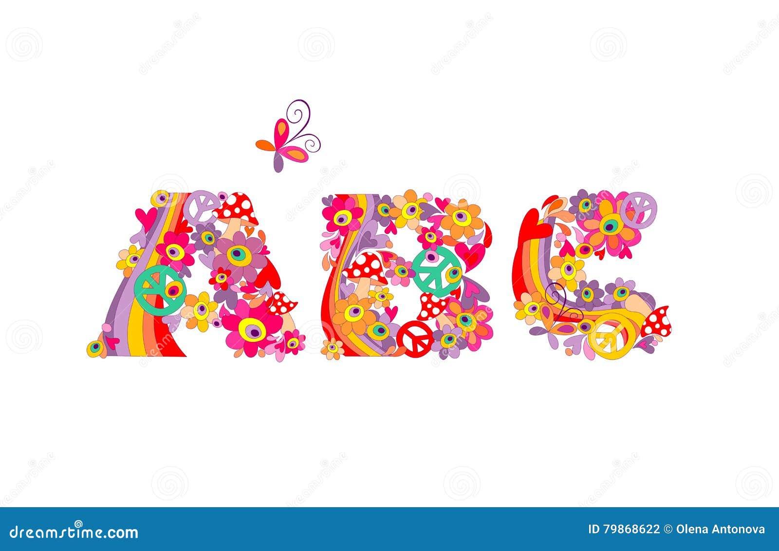 Hippie alphabet  ABC stock vector  Illustration of font