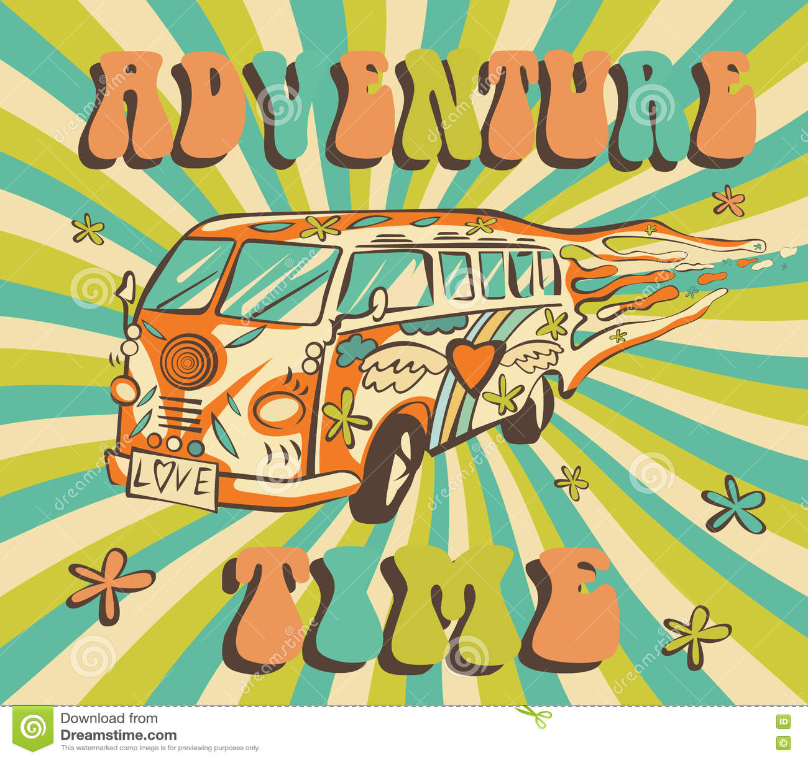 Summer Time Background With Hippie Van Vector Illustration