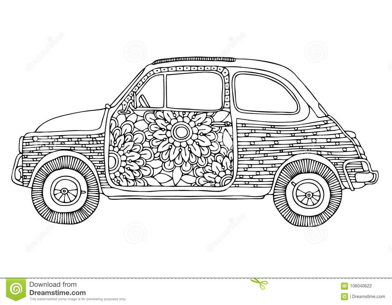 Coloring Book Page For Adult And Kids. Cartoon Vector ...