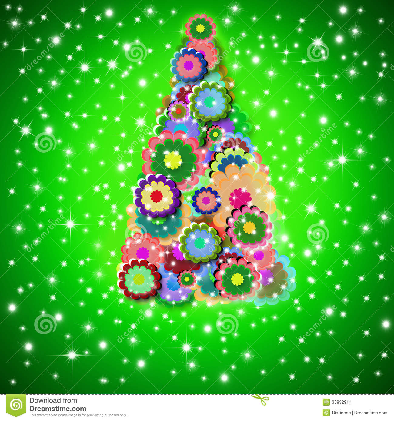 Hippie Christmas Tree Greeting Card Stock Illustration ...