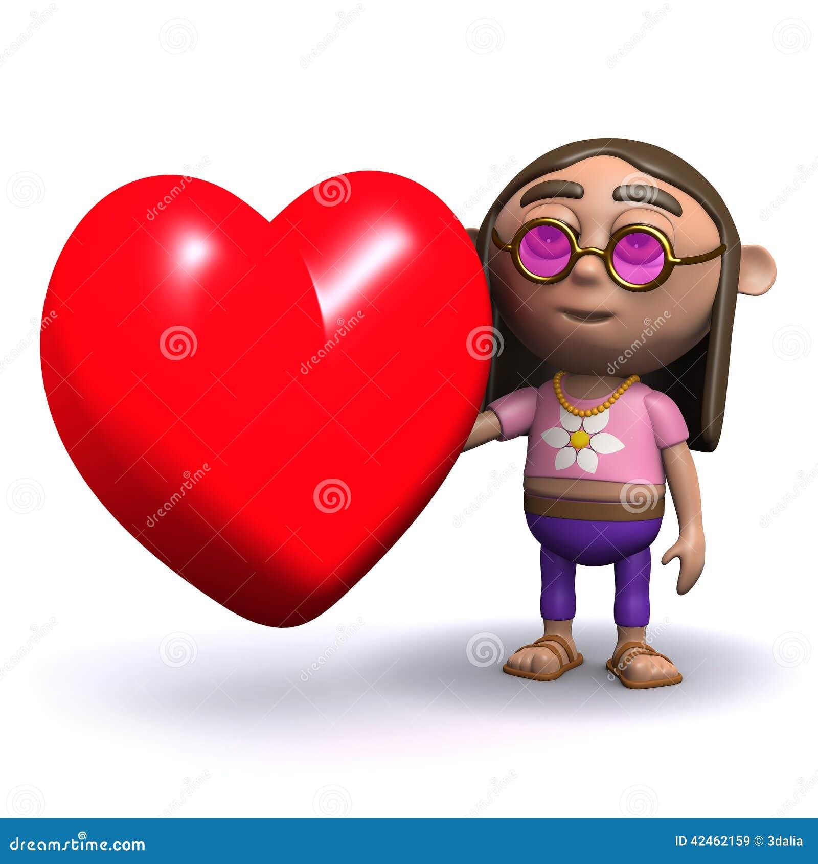 Hippie 3d hat ein Herz