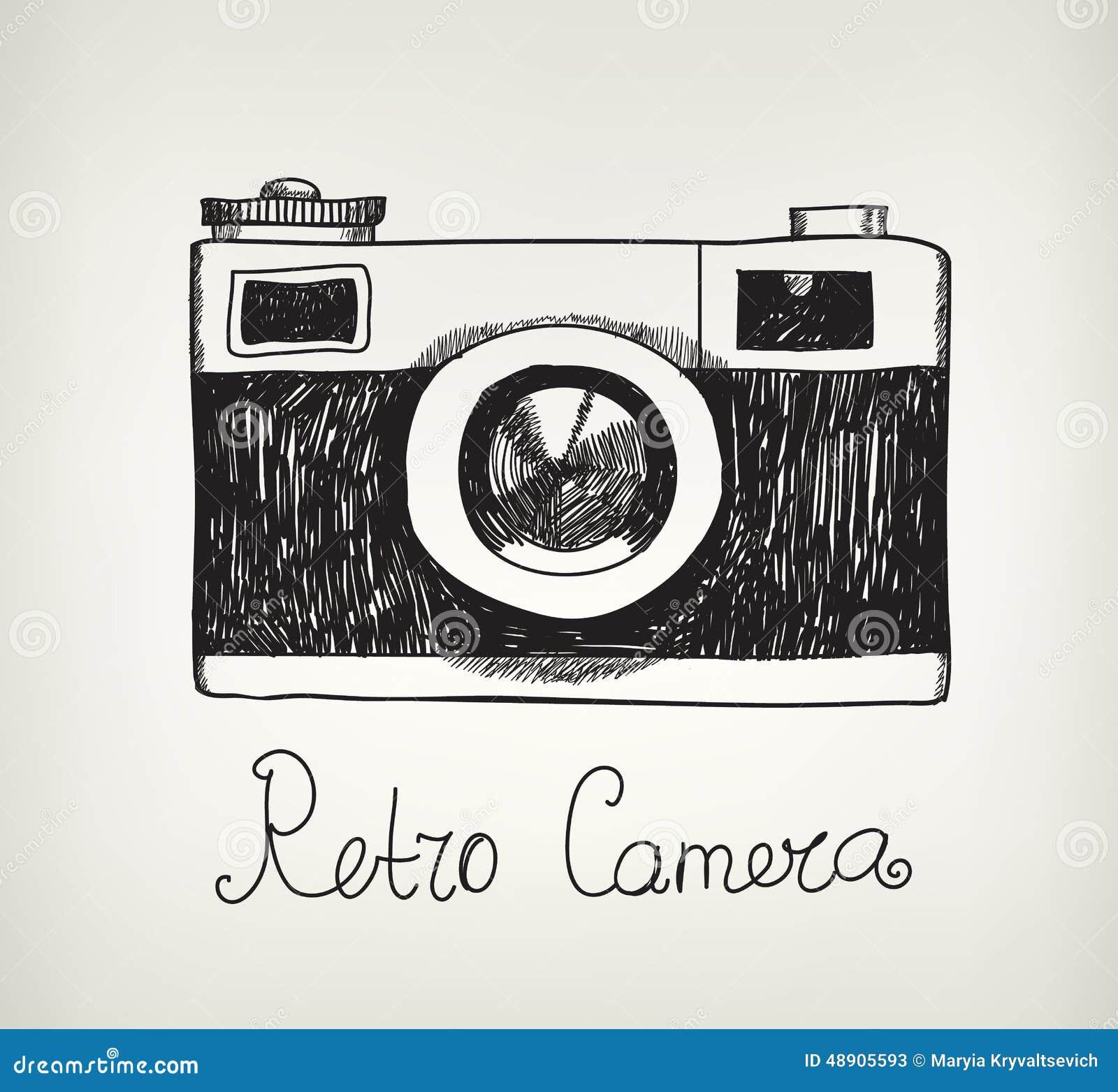 Hippie-Fotokamera des Vektors Retro- Hand gezeichnete