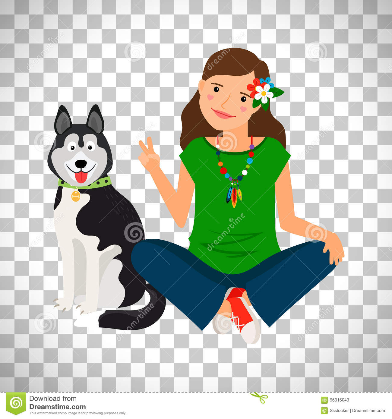 Hippie girl with dog icon