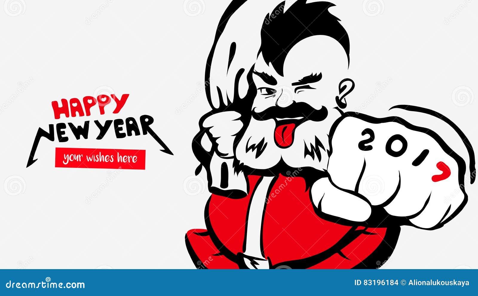 Hippie Lustige Santa Claus Grußkarte 2017 Guten Rutsch Ins Neue