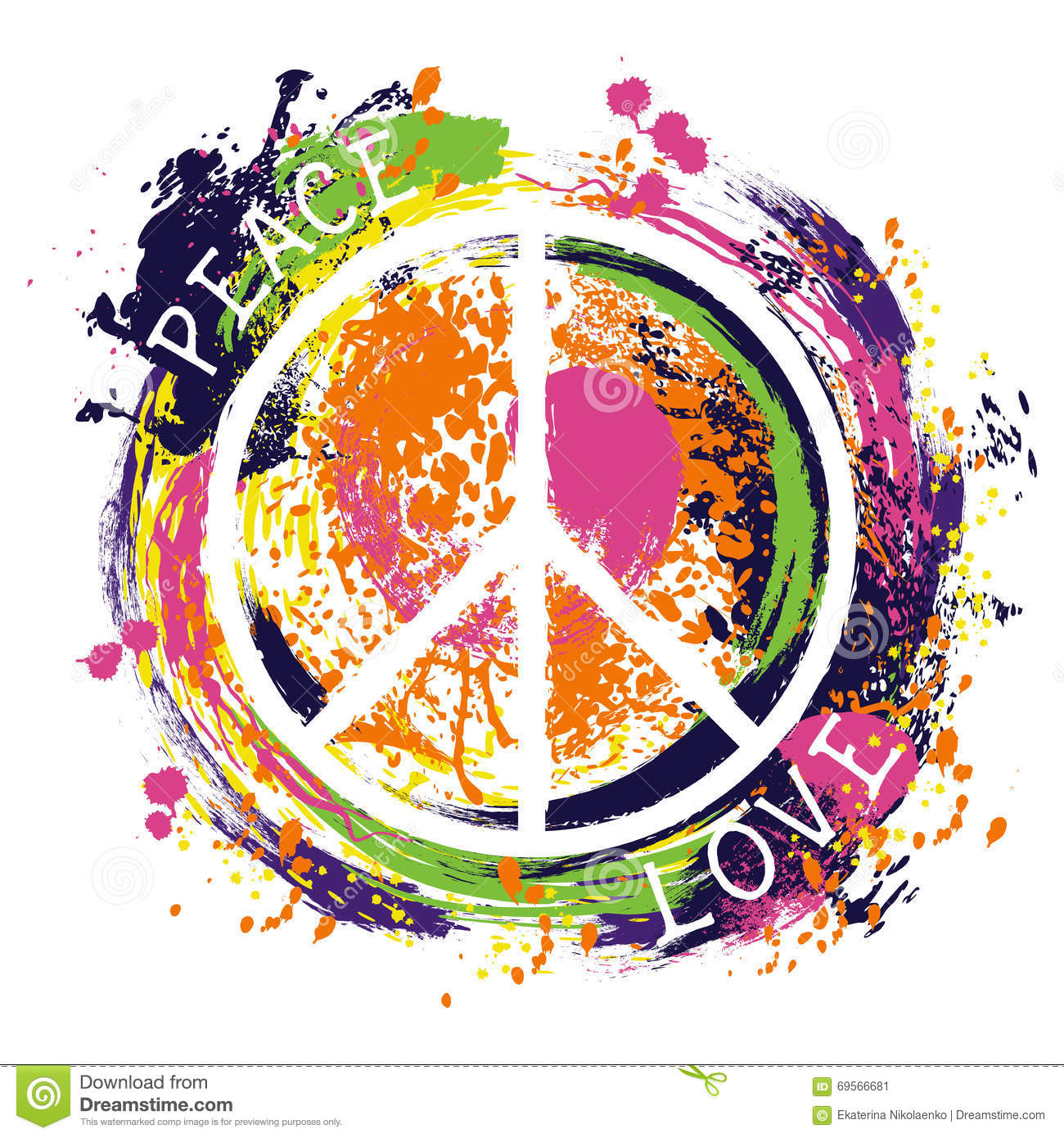Hippie Peace Symbol Peace And Love Colorful Hand Drawn Grunge