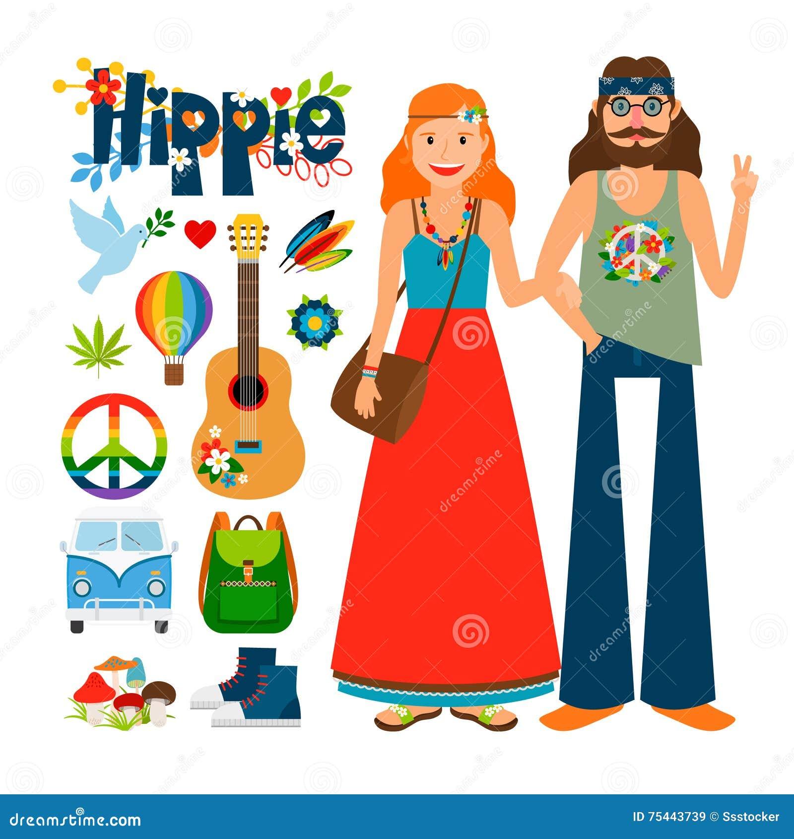 Hippie people vector icons
