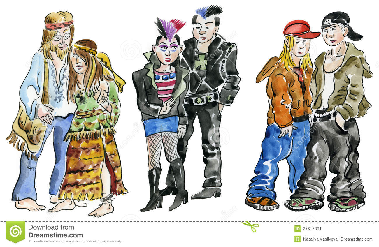 Hippie, punk and rock teens
