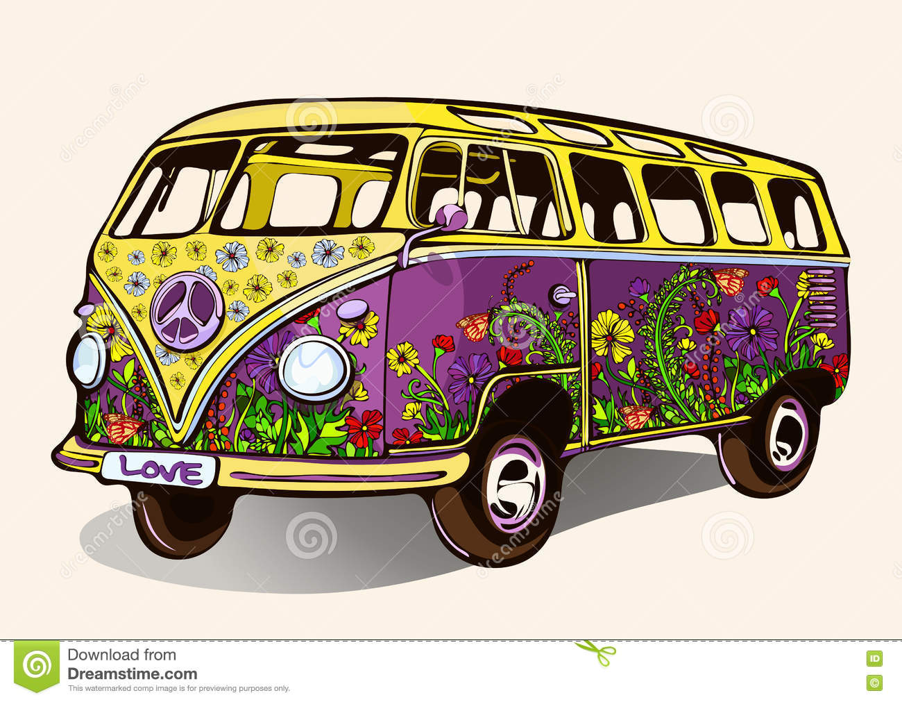 hippie vintage bus retro car with airbrushing hand drawing cartoon transport vector. Black Bedroom Furniture Sets. Home Design Ideas