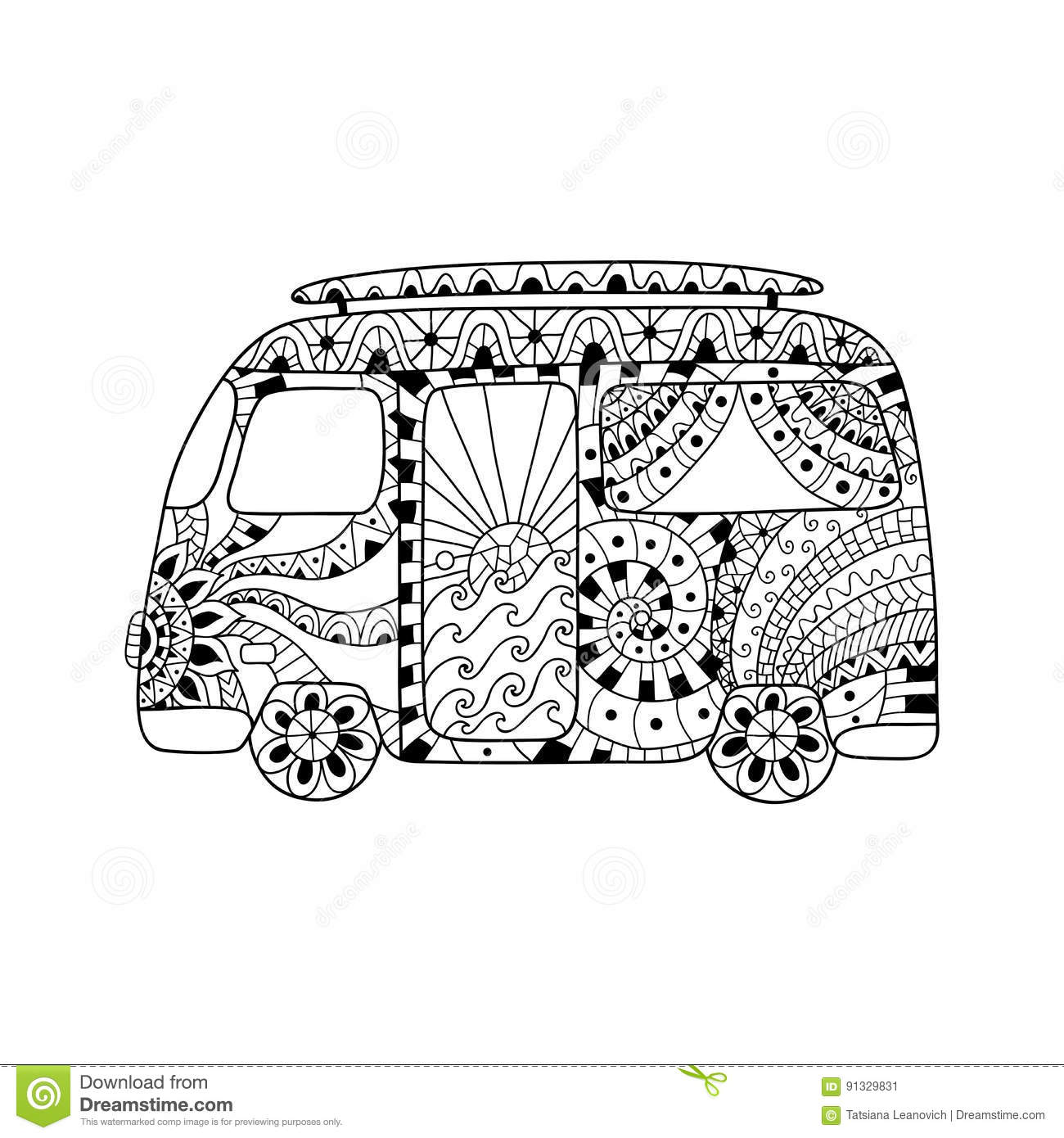 hippie vintage car a mini van in zentangle style for adult anti stress  stock vector