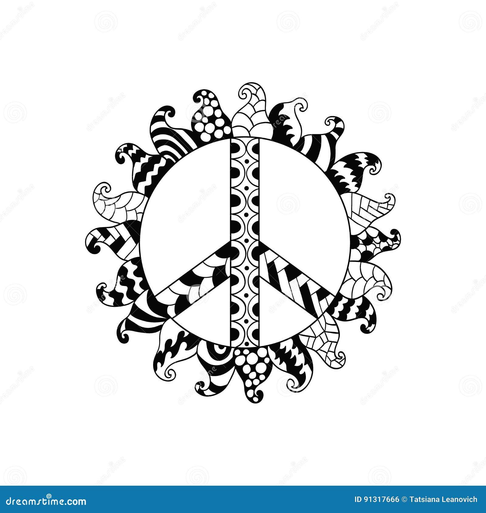 Hippie Vintage Peace Symbol In Zentangle Style Stock Vector