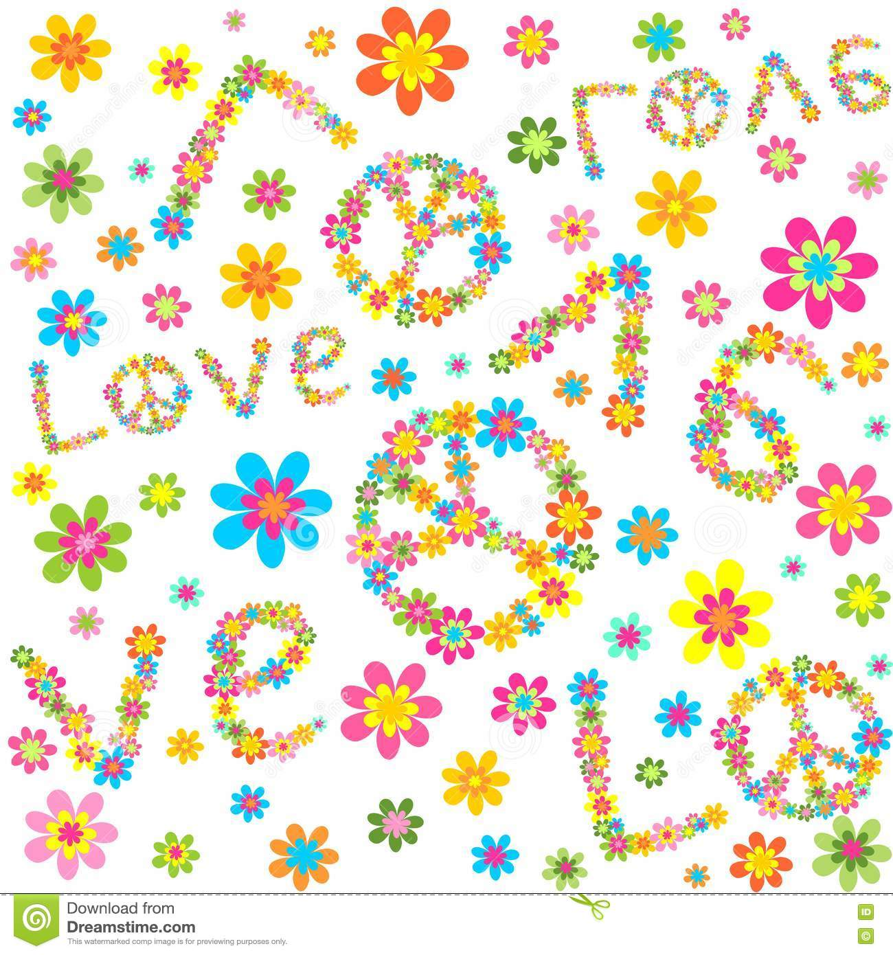 Hippie wallpaper with colorful abstract flowers and love lettering