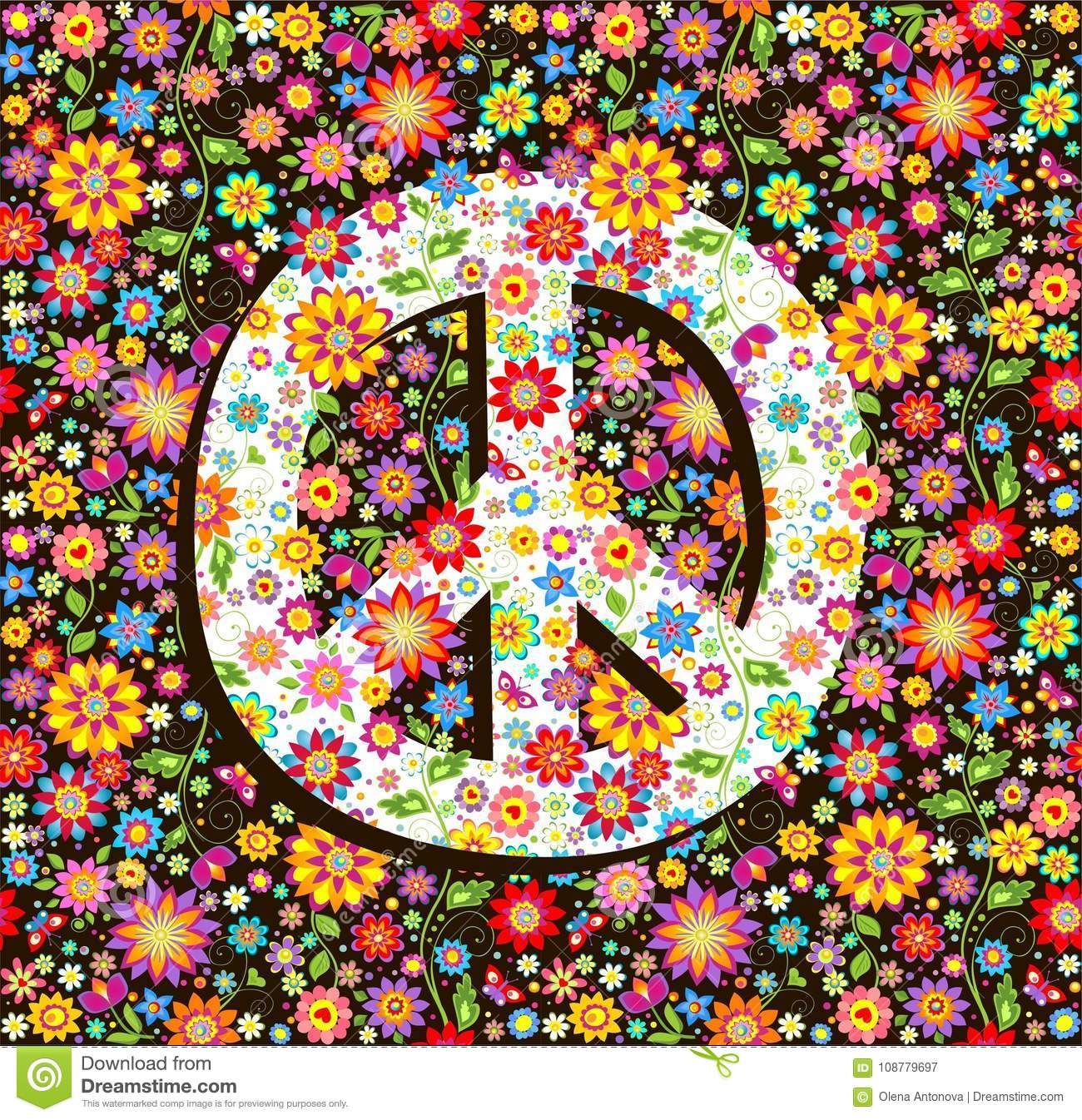 Hippie Wallpaper With Flowers Print And Peace Symbol Stock